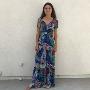 Blue floral boho maxi dress